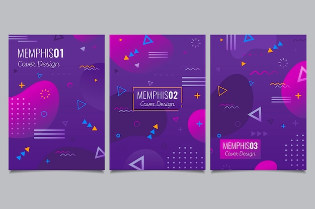 Memphis design geometric cover set Free Vector