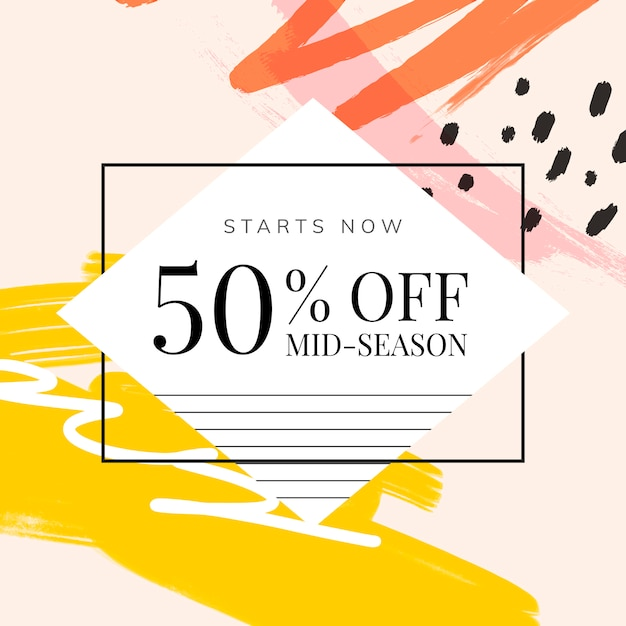 Memphis design with summer sale vector Free Vector