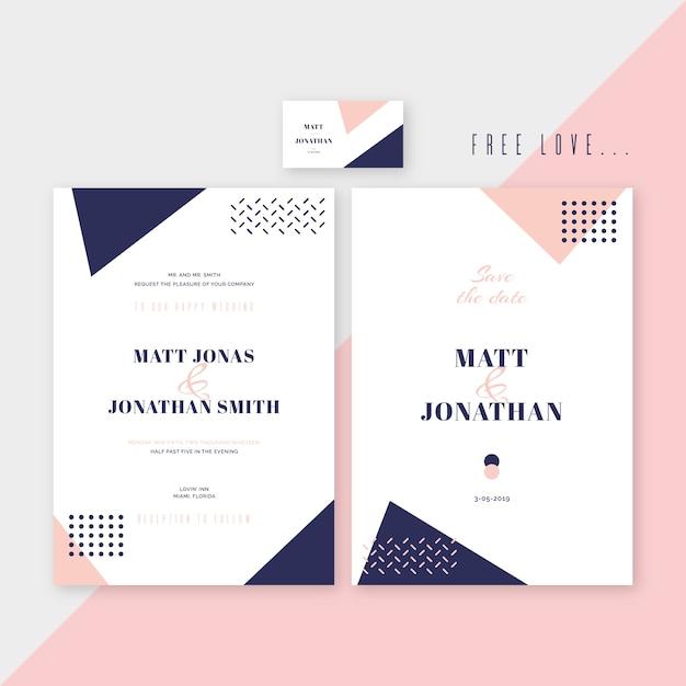 Memphis elegant wedding invitation template design Free Vector