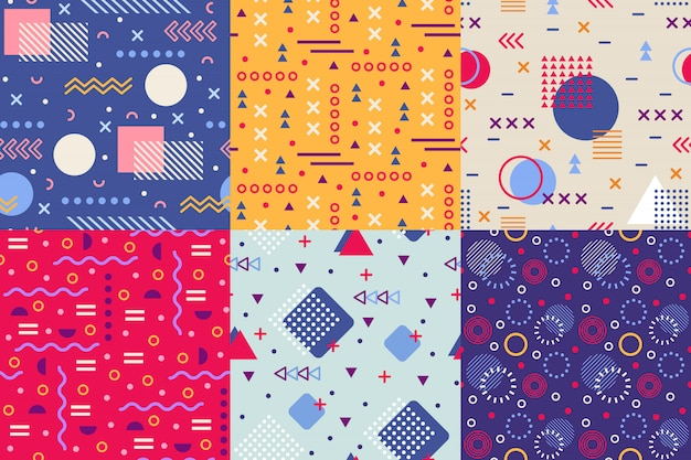 Memphis funky pattern, retro 90s abstract shapes backgrounds, creative shape texture poster seamless  background patterns Premium Vector