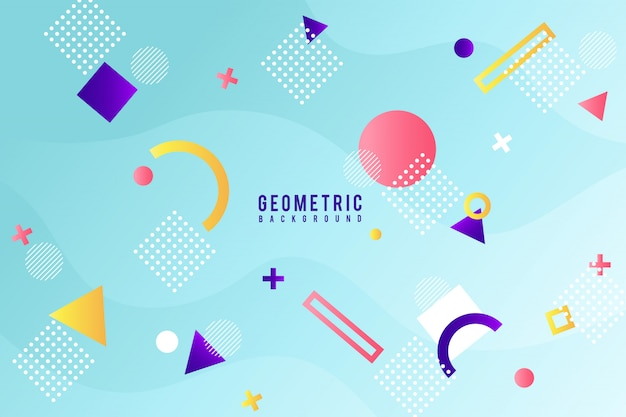 Memphis geometric background Free Vector