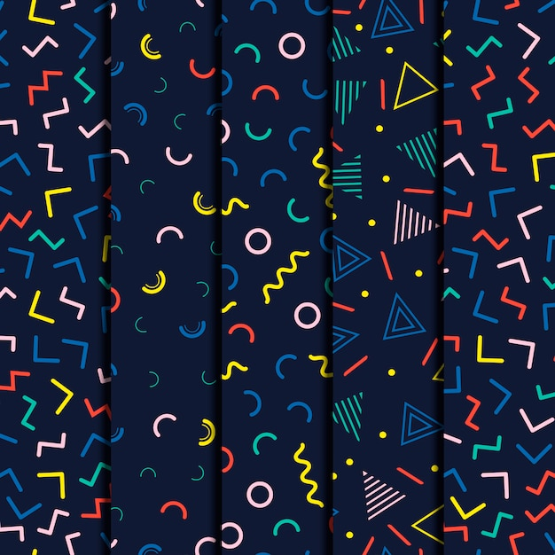 Memphis geometric line seamless patterns set Premium Vector