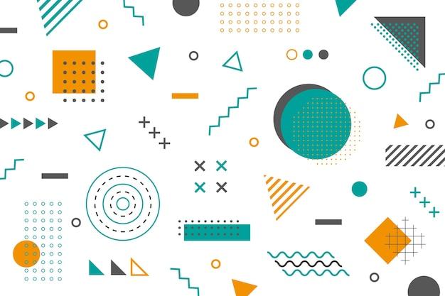 Memphis geometric shapes wallpaper Free Vector