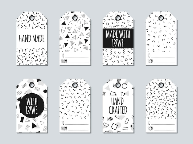 Memphis gift tags and cards. Premium Vector