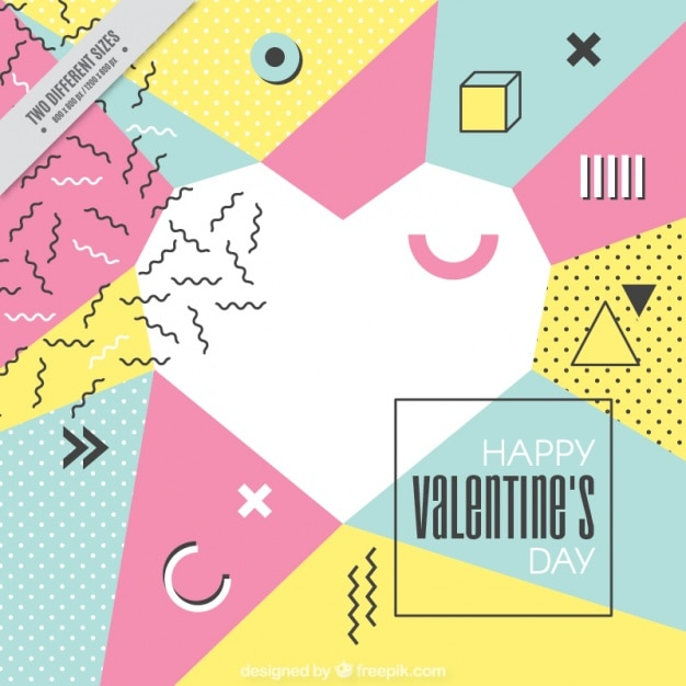 Memphis heart of valentine's background Free Vector