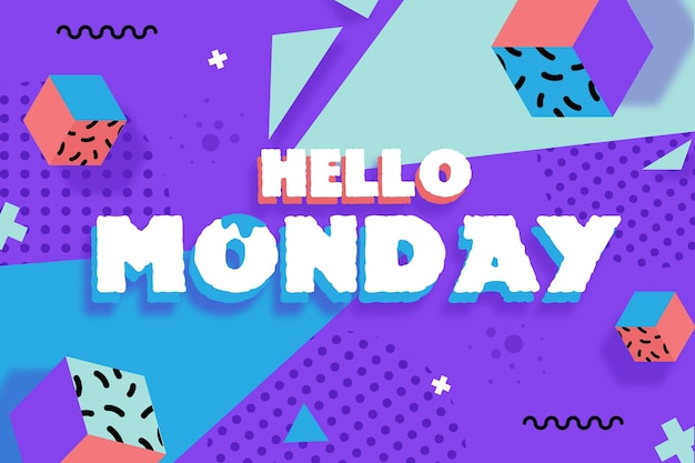 Мемфис привет понедельник фон Premium векторы