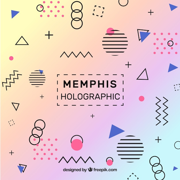 Memphis holographic background Free Vector