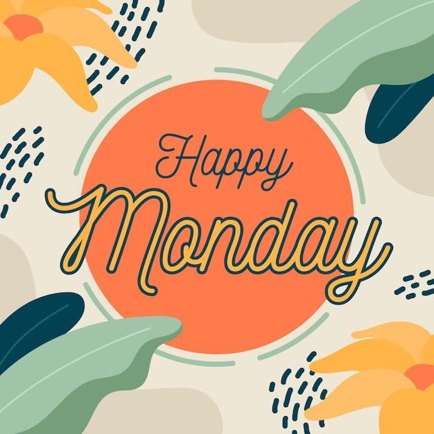 Мемфис понедельник фон с цветами Premium векторы