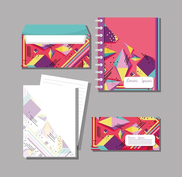 Memphis notebooks and envelopes mock up Premium Vector