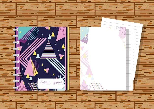 Memphis notebooks mock up over wooden background Premium Vector