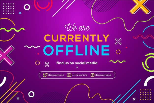 Memphis offline twitch banner with colorful shapes and lines Premium Vector