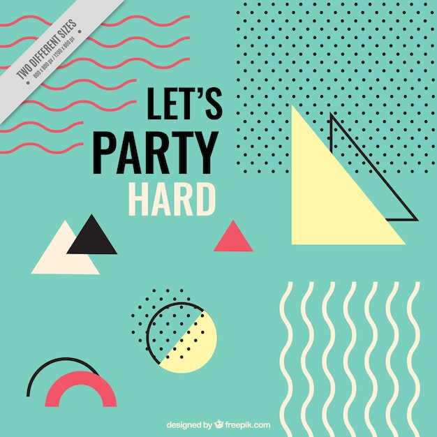 Memphis party background Free Vector