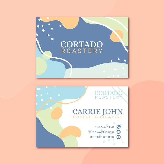 Memphis pastel-colored business card template Free Vector