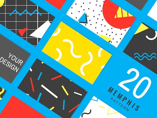 Collezione di carte modello memphis Vettore gratuito