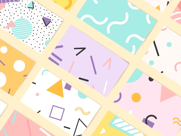 Memphis pattern cards collection Free Vector