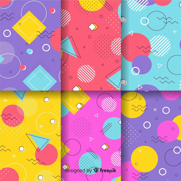 Memphis pattern collection background Free Vector