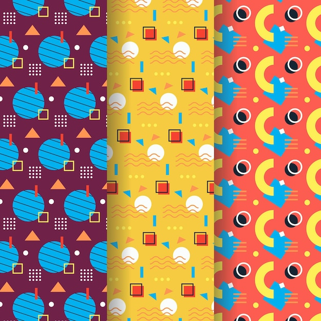 Memphis pattern collection concept Free Vector