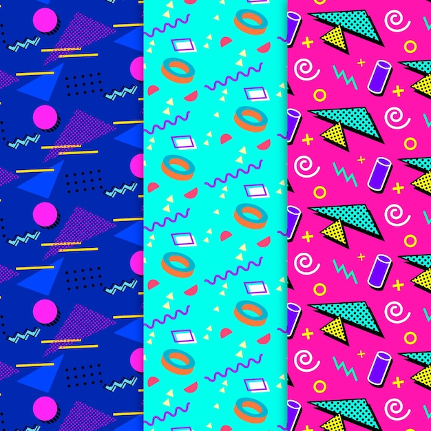 Memphis pattern collection theme Free Vector
