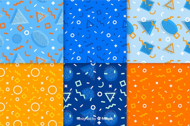 Memphis pattern collection wallpaper Free Vector