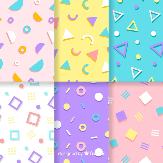 Memphis pattern collection with colorful backgrounds Free Vector