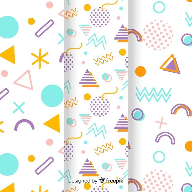 色とりどりの形状を持つメンフィスパターンコレクション 無料ベクター