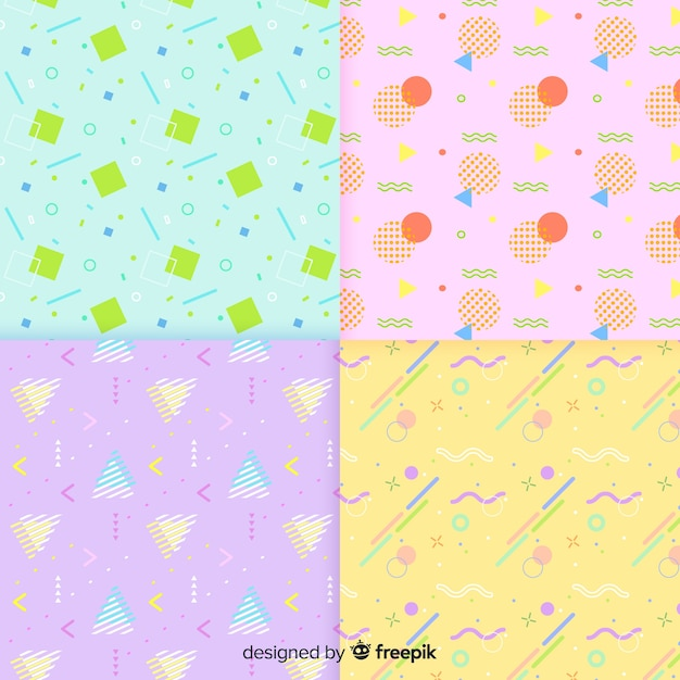 Memphis pattern collection with pale colors Free Vector