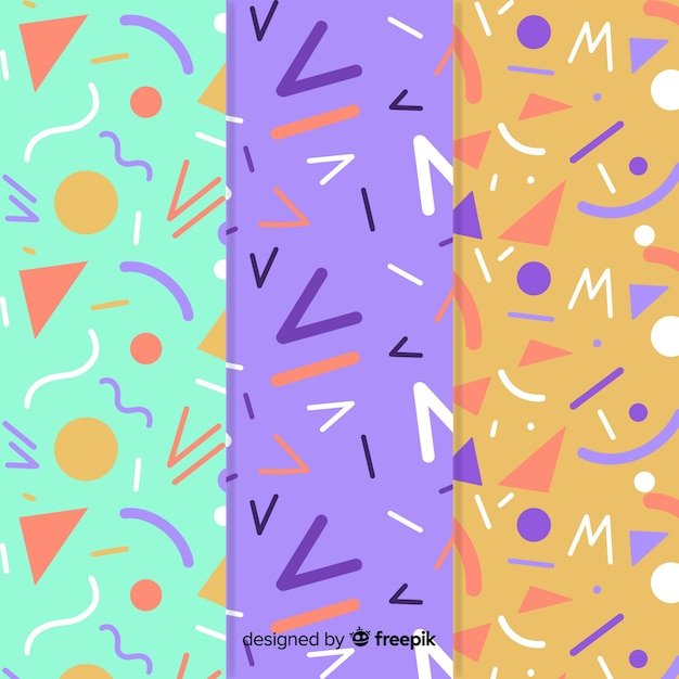 Memphis pattern collection with variety of background colors Free Vector