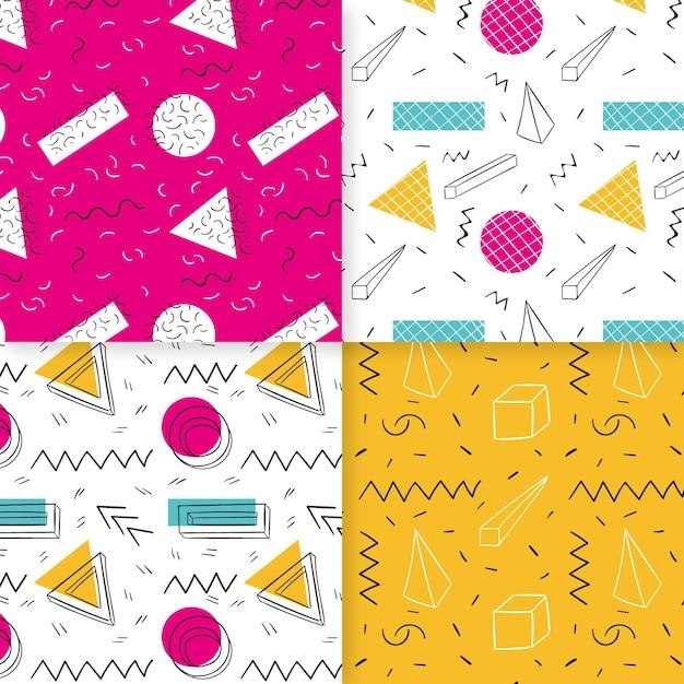 멤피스 패턴 컬렉션 무료 벡터