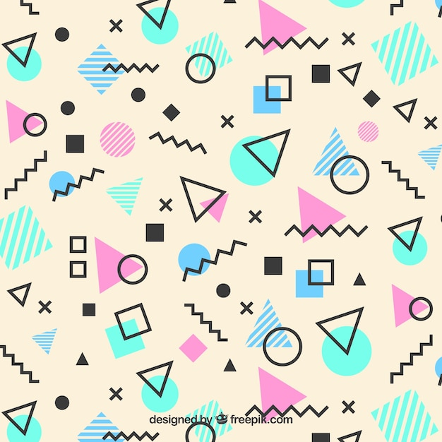 Memphis pattern of geometric shapes Free Vector