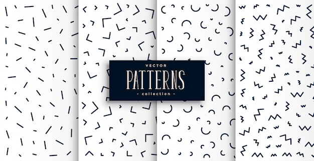 Memphis pattern set in black and white color Free Vector