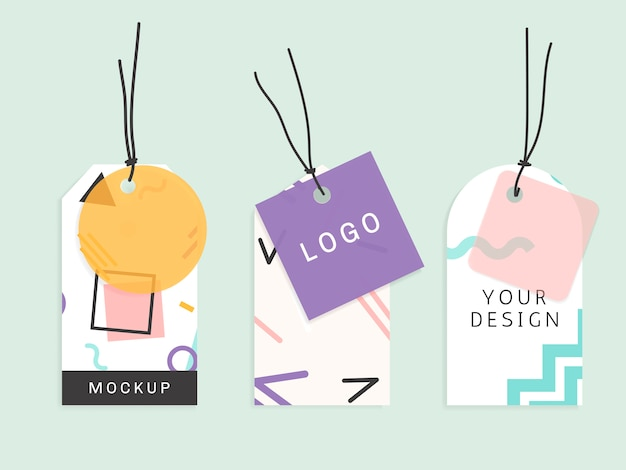 Memphis pattern tags collection Free Vector