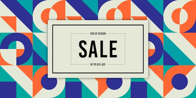 Memphis retro sale banner background Premium Vector