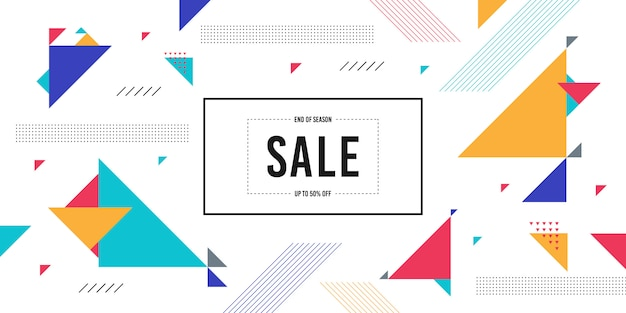 Memphis sale banner background Premium Vector