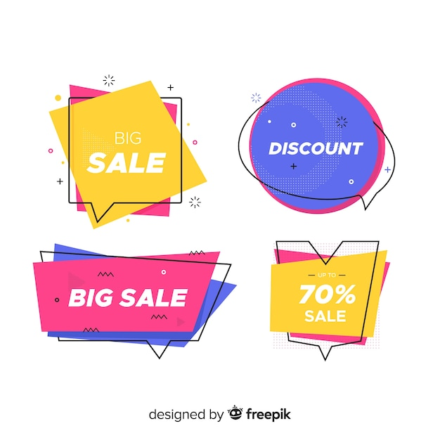 Memphis sale banner collection Free Vector