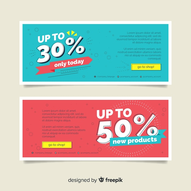 Memphis sale banner templates collection Free Vector