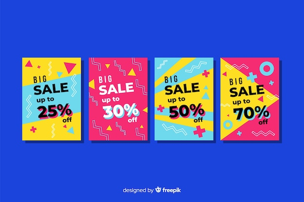 Memphis sale banner templates collection Free Vector