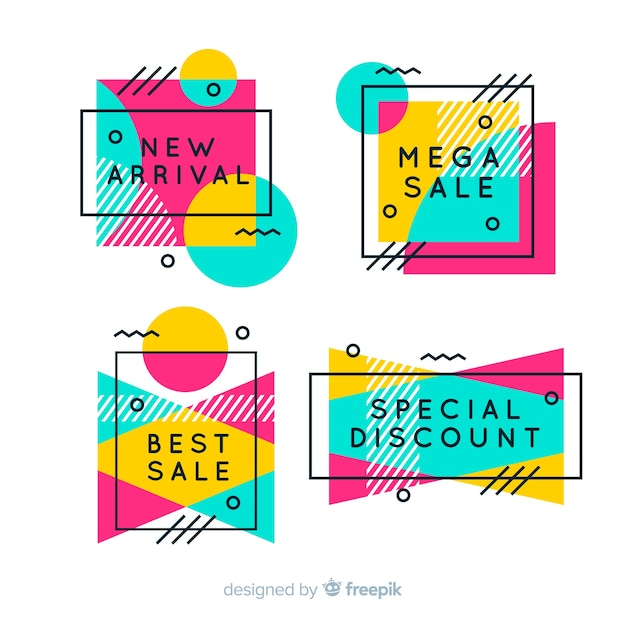 Memphis sale banners Free Vector