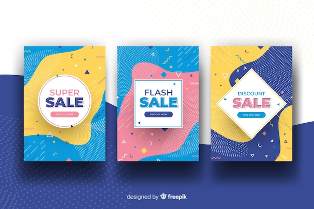 Memphis sales banner collection Free Vector