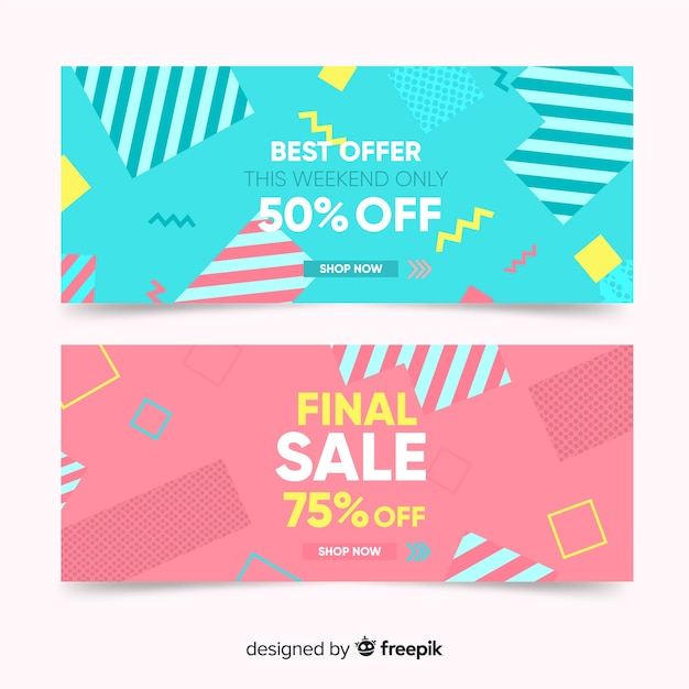 Memphis sales banner template collection Free Vector