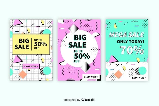Memphis sales banner template design set Free Vector