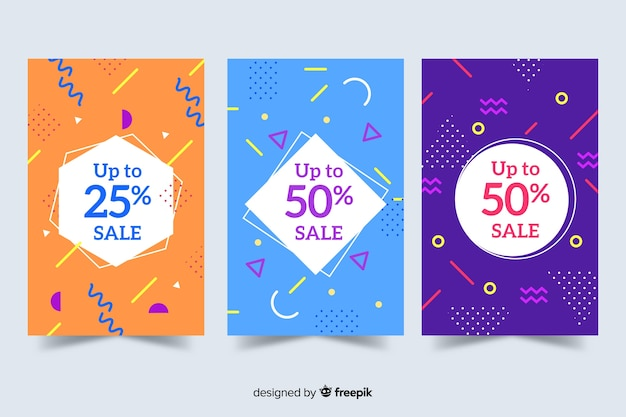 Memphis sales banner templates collection Free Vector