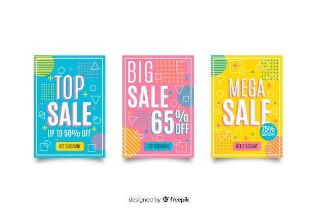 Memphis sales banner templates collection Free Vector