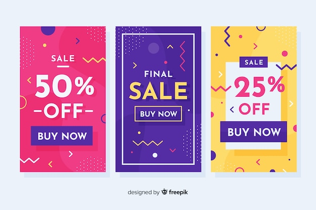 Memphis sales banners template collection Free Vector
