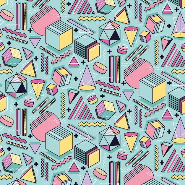 Memphis Seamless Abstract Pattern Colorful Geometric