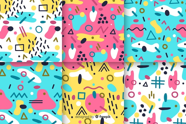 Memphis seamless pattern collection Free Vector