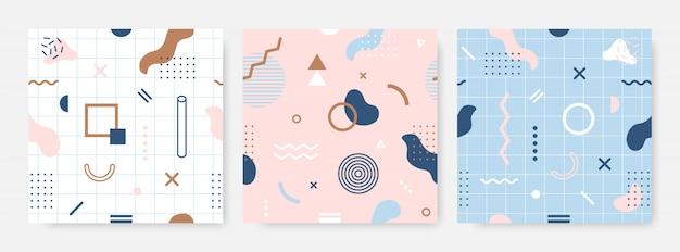 멤피스 원활한 패턴 컬렉션입니다. 프리미엄 벡터