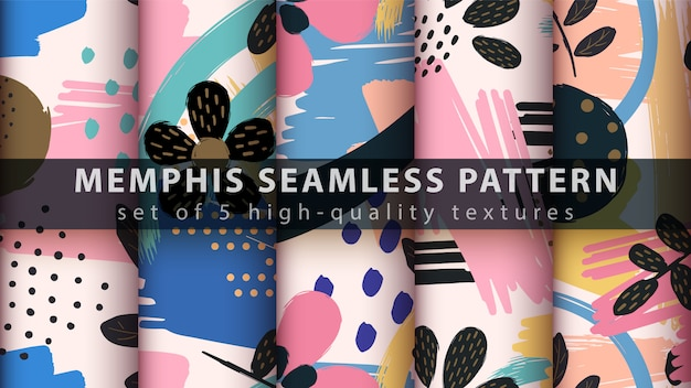 Memphis seamless pattern - set five items Premium Vector