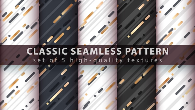 Memphis seamless pattern - set five items. Premium Vector