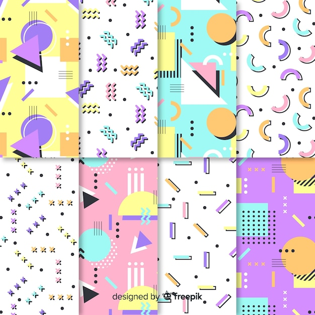 Memphis seamless pattern set Free Vector