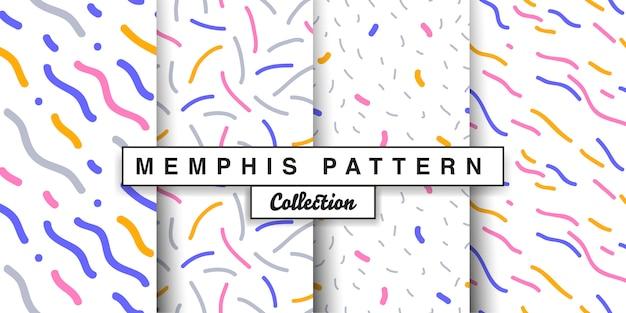 Memphis seamless pattern set Premium Vector